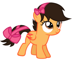Size: 694x574   Tagged: safe, artist:unoriginai, oc, oc only, pegasus, pony, bow, colored wings, colored wingtips, filly, hair bow, multicolored wings, offspring, parent:applejack, parent:oc:lightning striker, parents:canon x oc, simple background, solo, tail bow, white background