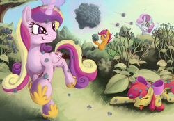 Size: 1600x1116 | Tagged: safe, artist:fantdragon, apple bloom, princess cadance, scootaloo, sweetie belle, burrs, cutie mark crusaders, eyes closed, grin, gritted teeth, levitation, magic, playing, prone, running, smirk, stingbush seed pods, telekinesis, throwing, tongue out, wide eyes