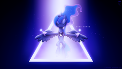 Size: 1920x1080 | Tagged: safe, artist:adrianimpalamata, artist:parclytaxel, princess luna, collaboration, dark horse, eyes closed, female, katy perry, lowering, solo, song reference, spread wings, vector, wallpaper