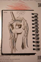 Size: 907x1355 | Tagged: safe, artist:cs, princess celestia, messy mane, morning ponies, solo