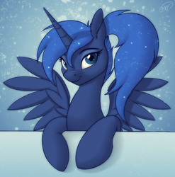 Size: 1978x2000   Tagged: safe, artist:skipsy, princess luna, alicorn, pony, alternate hairstyle, bust, cute, female, leaning, looking at you, lunabetes, mare, missing accessory, paint tool sai, ponytail, portrait, smiling, solo, spread wings, wings