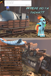 Size: 1024x1526   Tagged: safe, artist:php74, rainbow dash, 3d, ask, crossover, gmod, incoming ham, large ham, pony fortress 2, rainbow scout, saxton hale, team fortress 2, tumblr