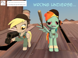 Size: 1024x768   Tagged: safe, artist:php74, derpy hooves, rainbow dash, pegasus, pony, 3d, ask, baseball bat, crossover, derpy soldier, female, gmod, mare, pony fortress 2, rainbow scout, rocket launcher, team fortress 2, tumblr, wings