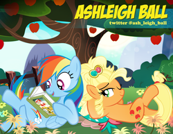 Size: 900x695 | Tagged: alternate hairstyle, apple, applejack, applejewel, artist:pixelkitties, ashleigh ball, clothes, crossed legs, daring do, dress, duo, earth pony, happy, lying down, on back, pixelkitties' brilliant autograph media artwork, pony, rainbow dash, reading, safe