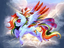 Size: 1200x900   Tagged: safe, artist:evehly, rainbow dash, backlighting, colored wings, flying, multicolored wings, rainbow wings, solo, unshorn fetlocks