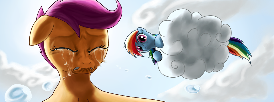 603152 Artist Rautakoura Cloud Crying My Little Investigations Rainbow Dash Sad Safe Scootaloo Scootasad Derpibooru Scootaloo asked rainbow dash if she would do that they do the race together, even though they weren't sisters rainbow dash thought it was. artist rautakoura cloud crying my