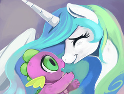 Size: 680x517   Tagged: safe, artist:ende26, princess celestia, spike, alicorn, pony, baby spike, boop, cute, ende will be the end of us, eyes closed, fangs, female, male, mare, missing accessory, momlestia, noseboop, open mouth, smiling, spikabetes, spikelove