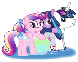 Size: 946x750 | Tagged: safe, artist:dm29, princess cadance, shining armor, twilight sparkle, beach ball, bikini, butt, clothes, cute, cutedance, female, filly, filly twilight sparkle, glasses, grin, julian yeo is trying to murder us, lovebutt, plot, shining adorable, simple background, smiling, swimsuit, teen princess cadance, transparent background, trio, twiabetes, vinyl scratch's glasses, water, wetsuit, younger
