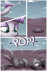 Size: 1000x1500 | Tagged: safe, artist:ponegranate, boulder (pet), maud pie, earth pony, object pony, original species, pony, comic:maud has sex with a rock, comic, female, lying down, male, mare, maudboulder, on back, ponified, potion, rock, stallion, transformation