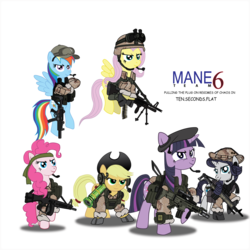 Size: 2000x2000 | Tagged: safe, artist:assassinbunny, artist:buckweiser, applejack, fluttershy, pinkie pie, rainbow dash, rarity, twilight sparkle, aa-12, armor, at4, baseball cap, beret, body armor, boonie hat, camouflage, fn scar, gray background, gun, hat, headband, m60, machine gun, mane six, military, mp5sd, rifle, rocket launcher, scar-l, shotgun, simple background, vector, weapon