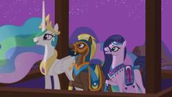 Size: 1920x1080 | Tagged: safe, screencap, amira, haakim, princess celestia, alicorn, horse, pony, saddle arabian, magic duel, clothes, crown, ethereal mane, faris, female, jewelry, long mane, male, mare, peytral, regalia, stallion, trio