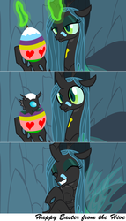 Size: 2560x4482   Tagged: safe, artist:astringe, queen chrysalis, changeling, changeling queen, nymph, cute, cutealis, cuteling, easter, easter egg, egg, eyes closed, female, grin, hug, mommy chrissy, painting, scrunchy face, smiling, surprised, wide eyes
