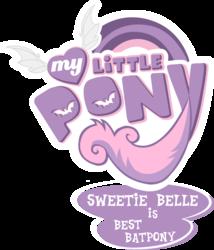 Size: 1779x2082 | Tagged: safe, artist:prettycupcakes, artist:vladimirmacholzraum, edit, sweetie belle, bat pony, pony, vampire, bats!, best pony, logo, logo edit, my little pony logo, simple background, sweetie bat, transparent background