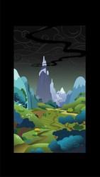 Size: 905x1600   Tagged: safe, artist:geoff manson, artist:phil caesar, dragonshy, official, season 1, background, dragon mountain, environment art, fim crew, mountain, official art, production art, scenery, smoke