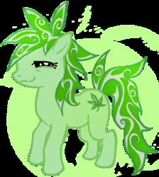 Size: 709x793   Tagged: safe, artist:gravityfxxk, oc, oc only, oc:hemp tea, oc:stoney poney, earth pony, pony, 420, drugs, female, high, mare, marijuana, solo