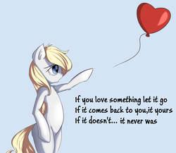 Size: 2000x1735 | Tagged: safe, artist:aryanne, artist:randy, oc, oc only, oc:aryanne, pony, aryanbetes, balloon, bipedal, blonde, chest fluff, crying, cute, ear fluff, heart, heart balloon, lonely, lost, love, sad, solo, wisdom
