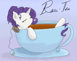 Size: 901x720 | Tagged: safe, artist:our-everlasting, rarity, pony, unicorn, bath, blue background, cup, cup of pony, cute, drink, eyes closed, female, hair bun, mare, micro, on back, pun, raritea, simple background, solo, tea, teabag, teacup, tiny ponies, visual pun