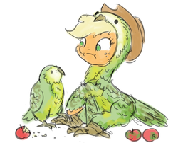 Size: 1000x847 | Tagged: safe, artist:king-kakapo, applejack, bird, parrot, pony, :t, animal, apple, bird costume, clothes, costume, duo, female, fluffy, frown, kakapo, mare, raised hoof, simple background, sitting, sketch, solo, white background