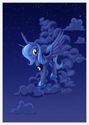 Size: 955x1351   Tagged: safe, artist:mysticalpha, princess luna, cloud, cloudy, female, night, s1 luna, sky, smiling, solo, spread wings