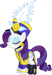 Size: 6000x8599 | Tagged: safe, artist:vladimirmacholzraum, rarity, pony, unicorn, testing testing 1-2-3, .svg available, absurd resolution, ancient wonderbolts uniform, boots, clothes, eyes closed, female, hat, mare, sgt. rarity, shako, shoes, simple background, smiling, solo, transparent background, uniform, vector