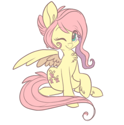 Size: 500x505   Tagged: safe, artist:indiefoxtail, fluttershy, pegasus, pony, alternate hairstyle, askbattyshy, chest fluff, cute, eye clipping through hair, female, looking at you, mare, one eye closed, one wing out, outline, raised hoof, shyabetes, simple background, sitting, smiling, solo, spread wings, three quarter view, transparent background, unshorn fetlocks, white outline, wings, wink