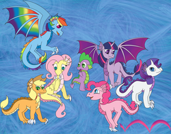 Size: 3202x2496   Tagged: safe, artist:white-tigress-12158, applejack, fluttershy, pinkie pie, rainbow dash, rarity, spike, twilight sparkle, dragon, blue background, colored wings, dragonified, dragonjack, flutterdragon, mane seven, mane six, multicolored wings, pinkiedragon, pronking, rainbow dragon, rainbow wings, raridragon, simple background, species swap, twilidragon, twilight sparkle (alicorn)