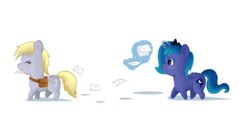 Size: 1296x623 | Tagged: alicorn, artist:artist-apprentice587, bag, blushing, chibi, derpy hooves, duo, eyes closed, letter, magic, mailbag, mailmare, mouth hold, pegasus, pony, princess luna, safe, simple background, smiling, telekinesis, white background