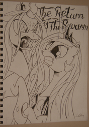 Size: 1088x1539 | Tagged: artist:cs, grayscale, monochrome, princess celestia, queen chrysalis, safe
