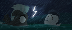 Size: 1280x533 | Tagged: artist:dtcx97, flashback, lightning, rumble, safe, swimming, thunderlane