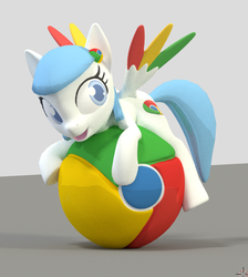 Size: 662x738 | Tagged: 3d, artist:he4rtofcourage, artist:uncommented, browser ponies, google chrome, logo, oc, oc:google chrome, oc only, pegasus, ponified, pony, prone, safe, solo