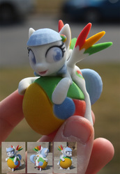 Size: 1000x1454   Tagged: safe, artist:he4rtofcourage, artist:uncommented, oc, oc only, oc:google chrome, pegasus, pony, 3d print, browser ponies, custom, google chrome, hand, irl, solo