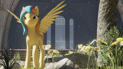Size: 1920x1080 | Tagged: 3d, artist:raynaron, babscon, babscon mascots, convention, flower, oc, oc:golden gates, oc only, safe, solo, unreal engine, youtube