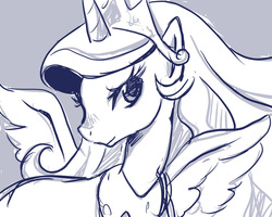 Size: 1280x1024 | Tagged: artist:rao, monochrome, princess celestia, safe, simple background, solo