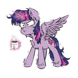 Size: 850x850 | Tagged: safe, artist:ichibangravity, twilight sparkle, alicorn, pony, chest fluff, coffee, coffee cup, coffee mug, cup, ear fluff, female, fluffy, grumpy, levitation, magic, magic aura, mare, morning ponies, mug, simple background, solo, spread wings, telekinesis, text, twilight is not amused, twilight sparkle (alicorn), unamused, unshorn fetlocks, white background, wings