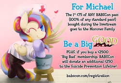 Size: 960x659 | Tagged: safe, artist:surgicalarts, oc, oc only, oc:golden gates, 2014, babscon, babscon mascots, charity, clothes, convention, donation, michael morones, nurse, pantyhose, poster, solo, suicide prevention lifeline, wink