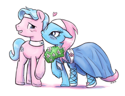Size: 1000x768 | Tagged: safe, artist:king-kakapo, aloe, lotus blossom, earth pony, pony, aloebetes, blushing, brother and sister, cheek kiss, clothes, cute, dress, female, floppy ears, flower, grin, heart, kissing, male, mare, not incest, not shipping, platonic kiss, raised hoof, rule 63, rule63betes, shy, siblings, smiling, spa twins, stallion, twins, unshorn fetlocks, wink