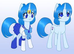 Size: 1000x722 | Tagged: artist:howlsinthedistance, mizuno ami, ponified, safe, sailor mercury, sailor moon, solo