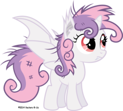 Size: 5000x4504 | Tagged: absurd res, alicorn, alicornified, artist:apony4u, bat pony, bat pony alicorn, fangs, messy mane, pony, race swap, safe, simple background, solo, sweetie bat, sweetie belle, sweetiecorn, transparent background, vector