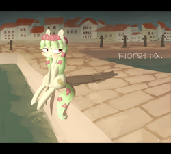 Size: 1557x1400   Tagged: dead source, safe, artist:berrydrops, oc, oc only, oc:floretta, earth pony, pony, artistic conception, depressed, female, flower, flower in hair, flower in tail, harbor, mare, pier, sitting, solo, water