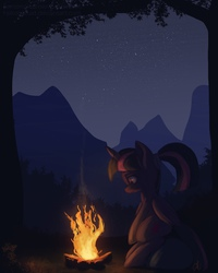 Size: 800x1000 | Tagged: safe, artist:raikoh, twilight sparkle, alicorn, pony, alternate hairstyle, campfire, dark, female, fire, forest, mare, mountain, night, outdoors, ponytail, scenery, sitting, smiling, solo, stars, tree, twilight sparkle (alicorn)