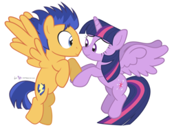 Size: 1050x780 | Tagged: safe, artist:dm29, flash sentry, twilight sparkle, alicorn, pony, backwards cutie mark, boop, eye contact, female, flashlight, flying, holding hooves, male, mare, nuzzling, shipping, simple background, smiling, spread wings, straight, transparent background, twilight sparkle (alicorn)