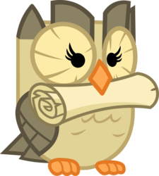 Size: 3189x3542 | Tagged: safe, artist:porygon2z, owlowiscious, mouth hold, scroll, simple background, solo, transparent background