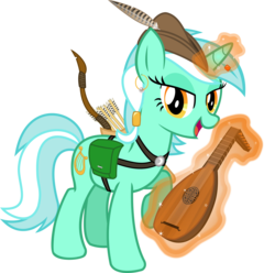 Size: 2042x2026 | Tagged: safe, artist:cheezedoodle96, lyra heartstrings, pony, alternate hairstyle, arrow, arrows, bard, bow (weapon), earring, fantasy class, female, harness, looking at you, lute, magic, mare, quiver, simple background, singing, solo, transparent background, vector, wip