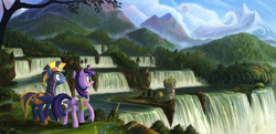 Size: 5000x2428   Tagged: safe, artist:devinian, twilight sparkle, oc, oc:zephyr, alicorn, lizard, pony, reptile, canon x oc, female, forest, grin, mare, mountain, neighagra falls, open mouth, raised hoof, saddle bag, scenery, scenery porn, smiling, twilight sparkle (alicorn), twiphyr, waterfall
