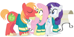 Size: 940x470 | Tagged: safe, artist:dm29, big macintosh, fluttershy, rarity, earth pony, pony, fluttermac, kissing, male, ponytones outfit, shipping, simple background, stallion, straight, transparent background, trio