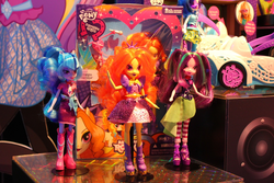 Size: 1500x1000 | Tagged: safe, adagio dazzle, aria blaze, dj pon-3, sonata dusk, vinyl scratch, equestria girls, rainbow rocks, doll, merchandise, prototype, the dazzlings