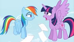 Size: 1440x810 | Tagged: safe, screencap, rainbow dash, twilight sparkle, alicorn, pony, testing testing 1-2-3, female, flying, hub logo, mare, scared, twilight sparkle (alicorn)