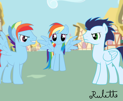 Size: 3300x2700 | Tagged: artist:rulette, blank flank, competition, dashblitz, female, jealous, male, rainbow blitz, rainbow dash, rivalry, rule 63, safe, self ponidox, shipping, soarin', soarindash, straight