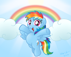 Size: 1024x825   Tagged: safe, artist:aleximusprime, rainbow dash, chubby, cloud, cloudy, cute, dashabetes, female, filly, filly rainbow dash, flying, looking at you, open mouth, rainbow, smiling, solo, spread wings