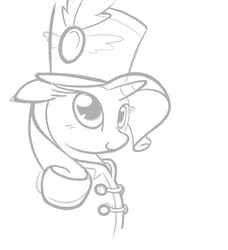 Size: 984x1080   Tagged: safe, artist:b-epon, rarity, pony, unicorn, testing testing 1-2-3, ancient wonderbolts uniform, bust, clothes, fabulous, female, grayscale, hat, mare, monochrome, outfit, portrait, sgt. rarity, shako, simple background, smiling, solo, uniform, white background, wip